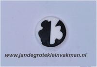 Kunststof knoop zwart wit ca.15mm  Mickey