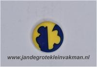 Kunststof knoop geel blauw ca.15mm  Mickey