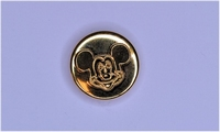 Metalen knoopje goudkleurig ca. 15mm Mickey Mouse