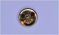 Metalen knoopje goudkleurig ca. 15mm Mickey Mouse