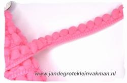 Bolletjesband (fijn), roze, ca.12mm, per meter