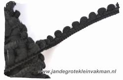 Bolletjesband (fijn), zwart, ca.12mm, per meter