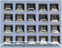 Studs opstrijkbaar zilverkleur ca. 8mm x 8mm, 20 stuks