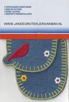 Pronty opstrijkb. kniestukken vogel jeans, 2 stuks