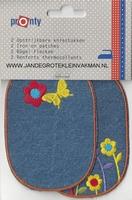 Pronty opstrijkb. kniestukken vlinder jeans, 2 stuks