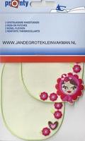 Pronty opstrijkb. kniestukken bloemen meisje ecru, 2 stuks