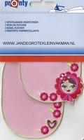 Pronty opstrijkb. kniestukken bloemen meisje rose, 2 stuks