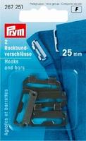 Prym rokhaak sluiting zwart 25 mm, 2 stuks