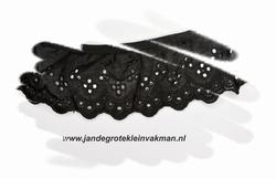 Kant, katoenmenging, voorgerimpeld, zwart, ca 50mm breed