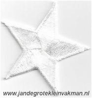 Applicatie ster, optrijkbaar en opnaaibaar, wit, 25mm