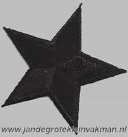 Applicatie ster, optrijkbaar en opnaaibaar, zwart, 55mm
