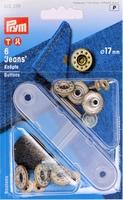Prym Jeansknopen, 17mm, zilverkleurig, 6 stuks