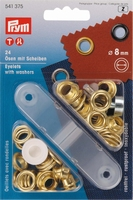 Prym zeilringen, goudkleurig, met tegenring, 24 stuks, 8mm